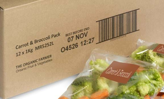 Text, numbers, batch code and barcode on cardboard packaging
