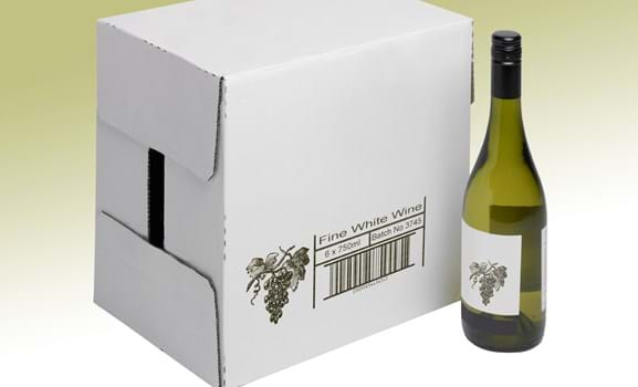 Custom image, text and barcode printed on cardboard box