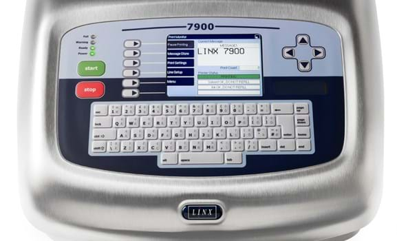 Close-up of Linx 7900 screen display and user interface